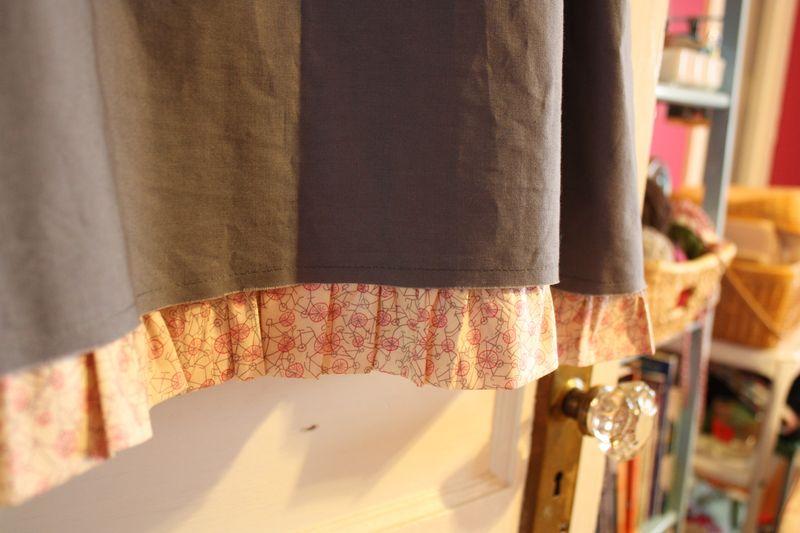 Uniform skirt ruffle detail